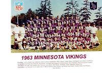 1963 MINNESOTA VIKINGS 8X10 TEAM PHOTO TARKENTON NFL AFL  FOOTBALL USA