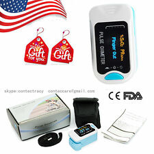 USA OLED Fingertip Pulse Oximeter Blood Oxygen Saturation Monitor with bag,BLUE