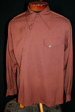 1930'S EXCEPTIONALLY RARE ANGLED ZIPPER BROWN GABARDINE SHIRT SIZE M+
