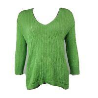 J JILL Solid All Green Long Sleeve Open Knit Sweater Womens Size M Medium