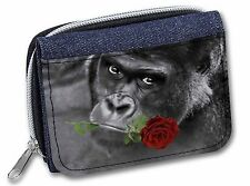 Gorilla with Red Rose in Mouth Girls/Ladies Denim Purse Wallet Christma, AM-6RJW