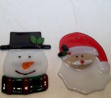 Two LONGABERGER FUSED GLASS Christmas Tree ORNAMENTS Santa & Snowman