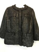 CHICO'S WOMENS ROUND NECK SNAP FRONT BLACK SEQUIN LINED JACKET SZ 1 NWT