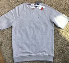 NEW MENS TOMMY HILFIGER GREY SHORT SLEEVE SWEATSHIRT TOP UK SIZE SMALL RRP £60