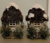Holiday Snow Covered Houses With Evergreen And Thatched Style Roofs Set Of 2