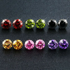 Sweet Round Cut Colorful Zircon Ear Stud Earrings Women's 10Kt White Gold Filled