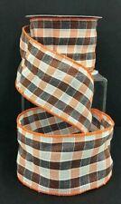 """Linen Check Wired Edge Ribbon~Orange,Black,White ~2 1/2"""" W x 10 yd"""