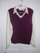 Alfred Dunner Sweater Vest Blouse All in One Size L, White and Maroon