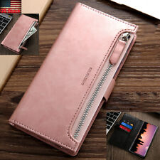 For Samsung S20 Ultra S10+ Note 10+ Zipper Pocket Leather Card Wallet Case Cover