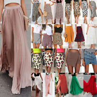 Womens Summer Midi Skirt Palazzo High Waist Party Cocktail Club Dress Clubwear