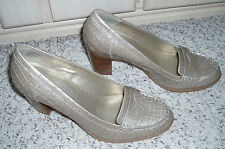 New~BANDOLINO *ABENZIO* Leather High Heel Loafer Style Shoes~Champagne~Size 7.5M