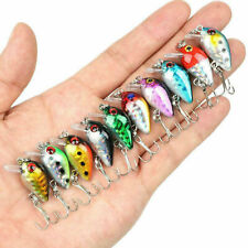 10 Fishing Lures Lots Of Mini Minnow Fish Bass Tackle Hooks Baits Crankbait New