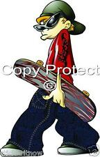 Skater Skateboard Dude Full colour Wall Art Sticker Decal Free Postage