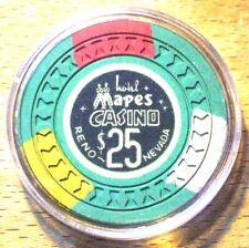 (1) $25. Mapes Casino Chip - 1950s - Reno, Nevada - Hourglass Mold