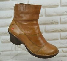 THE ART COMPANY Womens Brown Leather Ankle Heeled Boots Shoes Size 5 UK 38 EU