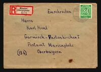 Germany 1947 Munster Registered Cover / 84pf Green - Z14853