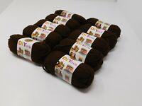 NIB Lion brand Acrylic Brown Yarn #4 Medium Lot Of 10 Small Skeins 650 Yards