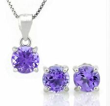 AMETHYST & STERLING SILVER NECKLACE & EARRING SET SOLITAIRE FREE CHAIN MOTHERS