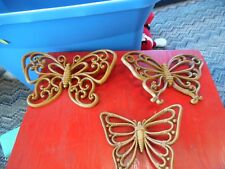 3 Homco Dart Ind brown Butterfly wall hangings