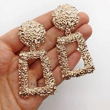 Chunky Rose Gold Door Knocker Statement Drop Clip On Earrings Blogger UK Catwalk