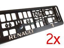 2x Black 3D RENAULT European Euro License Number Plate Holder Frame German EU