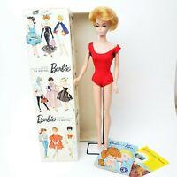 Vintage Barbie #850 Platinum Blonde Bubblecut Doll w/ Original Box Stand & Book