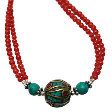 Turquoise and Red Coral Necklace - Handmade in Nepal - Fair Trade