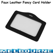 1 PC Clear Faux Leather Horizontal ID Card Holder For Office Lanyard Student