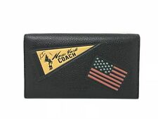 Coach F24650 Black Universal Phone Case with New York and USA Flag Patches $175