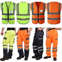 Mens Hi Vis Work Cargo Trouser Reflective Safety Splash proof Visibility Highway