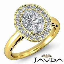 Oval Cut Diamond GIA H VS1 18k Yellow Gold Halo Pave Set Engagement Ring 1.86ct