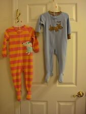 Lot of 2 Warm Fleece Carter's Footed Pajamas 1 Blue 18 MO 1 Pink 2T Puppy's