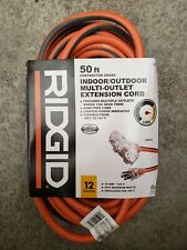Ridgid 50 Ft Extension Cord 12 Gauge Indoor Outdoor triple outlet 12/3 Tri-Tap