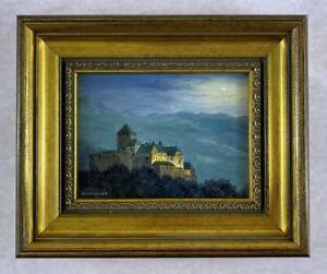 ROBERT HUGHES RMS Miniature Oil Painting VADUZ CASTLE DUCHY OF LIECHTENSTEIN - 2