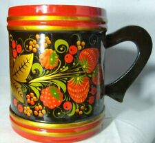 Beautiful hand painted lacquered wooden Folk Art floral Russian Mug Cup