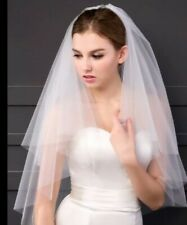 White Bridal Wedding Veil 2 Layers Elbow Length Cut Edges with Comb