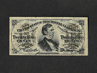 FR #1297  25c United States Fractional Currency FIBER PAPER WITH PLATE # 2 REV.