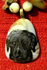 Curly Coated Retriever hand-painted on freeform pendant/bead/necklace