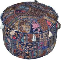 Bohemian Patchwork Pouf Cover Ottoman Ethnic Decor Indian Pouffe Foot Stool