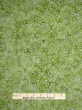 Batik Fabric - Medallion Motifs Green Batik Textiles Quilt Shop Quality - YARD