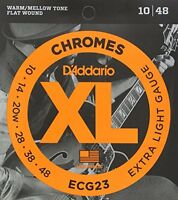 D'Addario ECG23 Chromes Flat Wound Electric Guitar Strings, Extra Light, 10-48