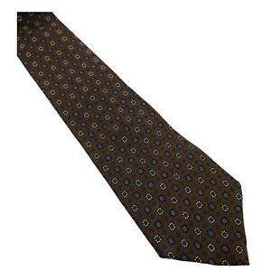 Piatelli Men's Neck Tie Brown Geometric All Silk Italy New York