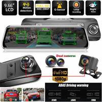 """10"""" Dual HD 1080P Dash Cam Car Rear View Mirror DVR ADAS Streaming Video Anytek"""
