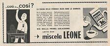 W1803 Latte con miscela Leone - Pubblicità 1958 - Vintage Advertising