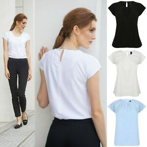 Ladies Silky Blouse Short Capped Cap Sleeve Pleat Drape Shirt Business Work Top