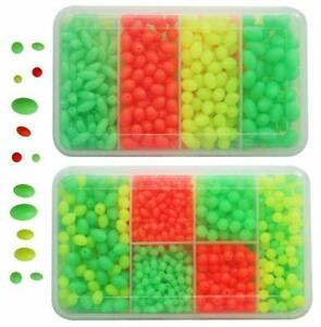 Fishing Beads 1000Pcs/Box Soft Plastic Luminous Oval & Round Beads Fishing Lures