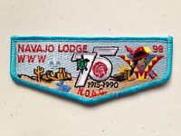 NAVAJO OA LODGE 98 SCOUT SERVICE PATCH FLAP 1990 NOAC DELEGATE 75 BLUE MINT RARE