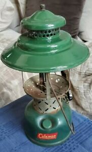 Vintage Coleman 228E Green Gas Lantern - RARE Big Hat Mantle Model !!!