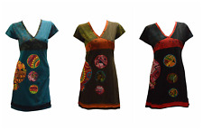 WOMENS LADIES FUNKY BOHO COTTON PATCHWORK ABSTRACT TUNIC DRESS SIZE S/M L/XL XXL