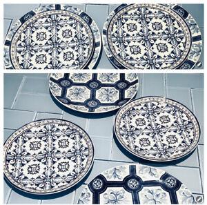 "Williams Sonoma Porto Dinner Plate Set of 4  10 1/2"" Blue & White"